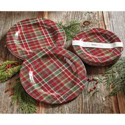 SALE!  Plaid Melamine Dessert Plate Set