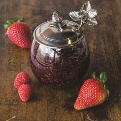SALE!  Strawberry Jam Jar With Spoon