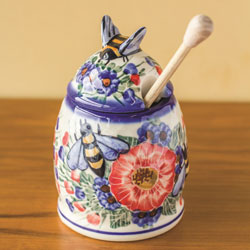 SALE!  Polish Pottery Honey Pot with Dipper