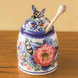 New Tableware & Decor - Polish Pottery Honey Pot with Dipper