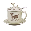 Porcelain Mug With Woodland Fawn, 4 Piece Set