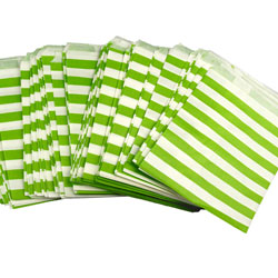 NP!  Bright Green Stripes Treat Bags, Set of 10
