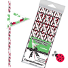 Red Ladybug Paper Straws with Flags, Package of 24