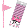 Dots on Pink Paper Straws with Flags, Package of 24