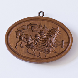 Sleigh with Covered Bridge Cookie Mold