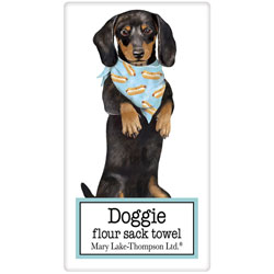 SOS!  Doggie With Hot Dog Scarf Flour Sack Towel