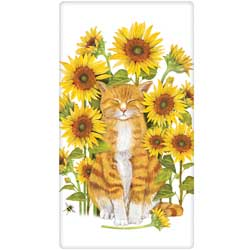 Cat With Sunflowers Flour Sack Towel