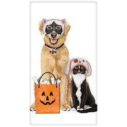 SALE!!  Cat & Dog Ready For Halloween Flour Sack Towel