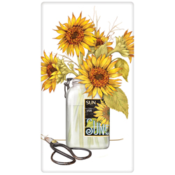 SOS! Sunflowers In Mason Jar Flour Sack Towel