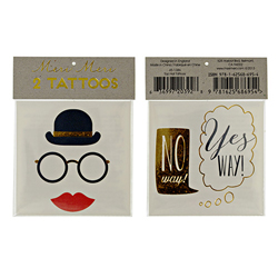 SALE!  Bowler Hat & Spectacles Tattoos, Set of 2