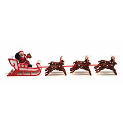 Santa & Sleigh with 6 Reindeer Cake Decorations