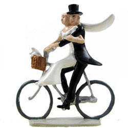 Newlyweds on a Bicycle Wedding Cake Topper
