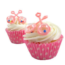 Baby Rattles Pink Cupcake Picks, Set of 12
