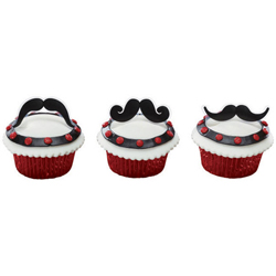 Mustache Bash Cupcake Decorations, Set of 12