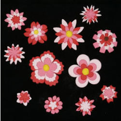 Fabulous Fondant Florals Red and Pink Set of 32