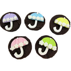 Fondant Pastel Shower Umbrella Assortment  Set of 20