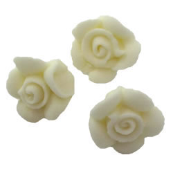 White Tiny Rose Icing Decorations