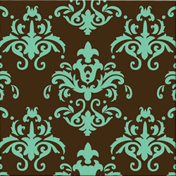 Damask Teal Chocolate Transfer Sheet