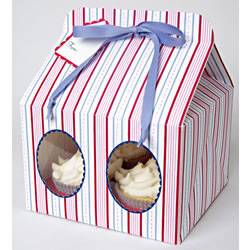 SALE!  Blue Striped Cupcake Boxes Large, Set of 3