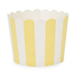 Muffin Cup Scalloped Stripe Yellow Pkg of 25