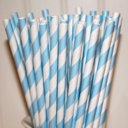 Striped Paper Straws Powder Blue, Package of 25