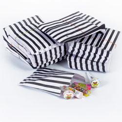 SALE!  Black Vintage Striped Candy Bags, Set of 10