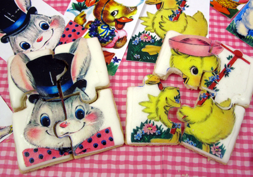 Retro Easter Wafer Paper Puzzle Cookies How-To