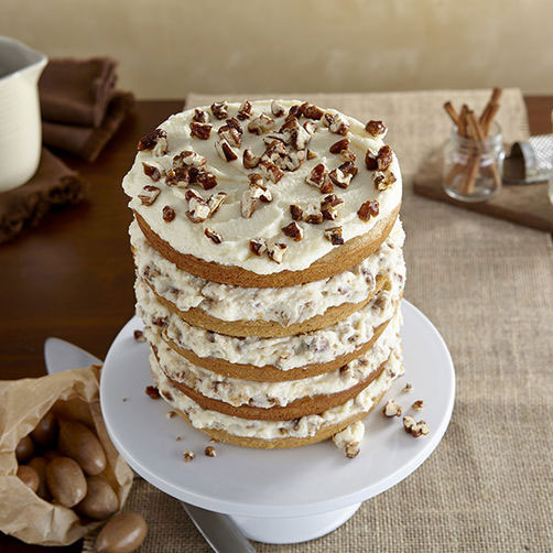 Spice Cake with Mascarpone and Candied Pecans
