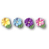 Pastel Flower with Leaf Assortment Icing Decoration