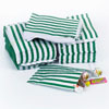 Green Vintage Striped Candy Bags, Set of 10