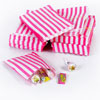 Pink Vintage Striped Candy Bags, Set of 10