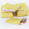 Yellow Vintage Striped Candy Bags, Set of 10
