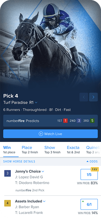 FanDuel Racing app screen
