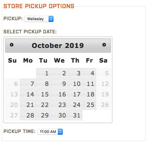Fastachi Store Pick-up calendar