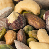 mixed nuts: cashews, pistachio kernels hazelnuts & almonds