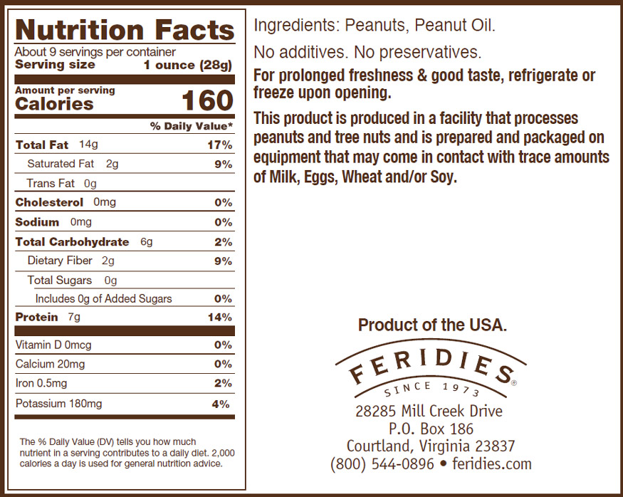 9oz Unsalted Virginia Peanuts Nutritional Information