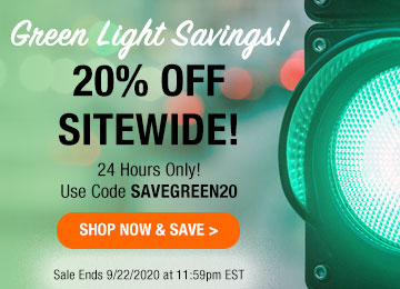 Green Light Savings! 20% OFF Sitewide! 24 Hours Only! Use Code SAVEGREEN20