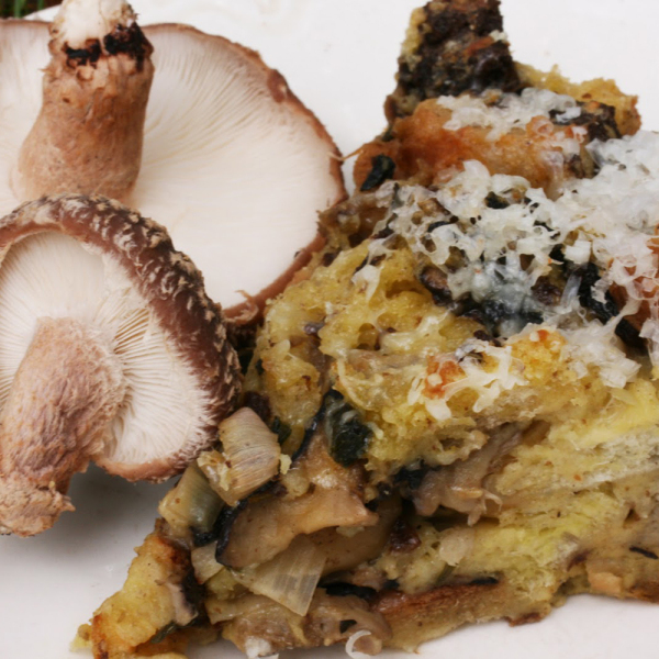 Shiitake Bread Pudding