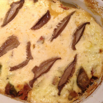 Wood Blewit and Spaghetti Squash Gratin