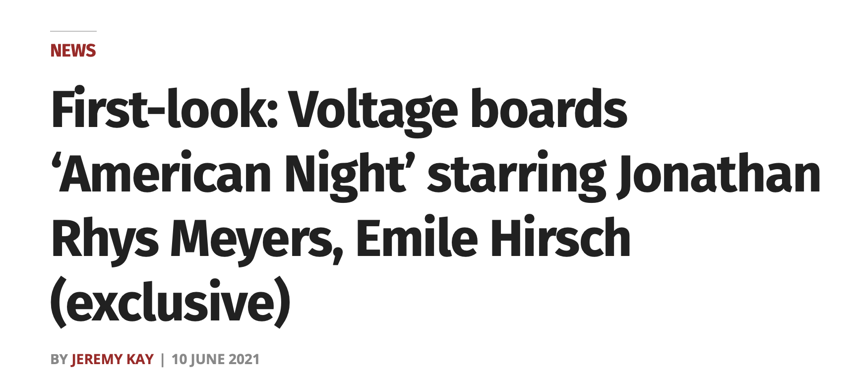 First-look: Voltage boards 'American Night' starring Jonathan Rhys Meyers, Emile Hirsch (exclusive)
