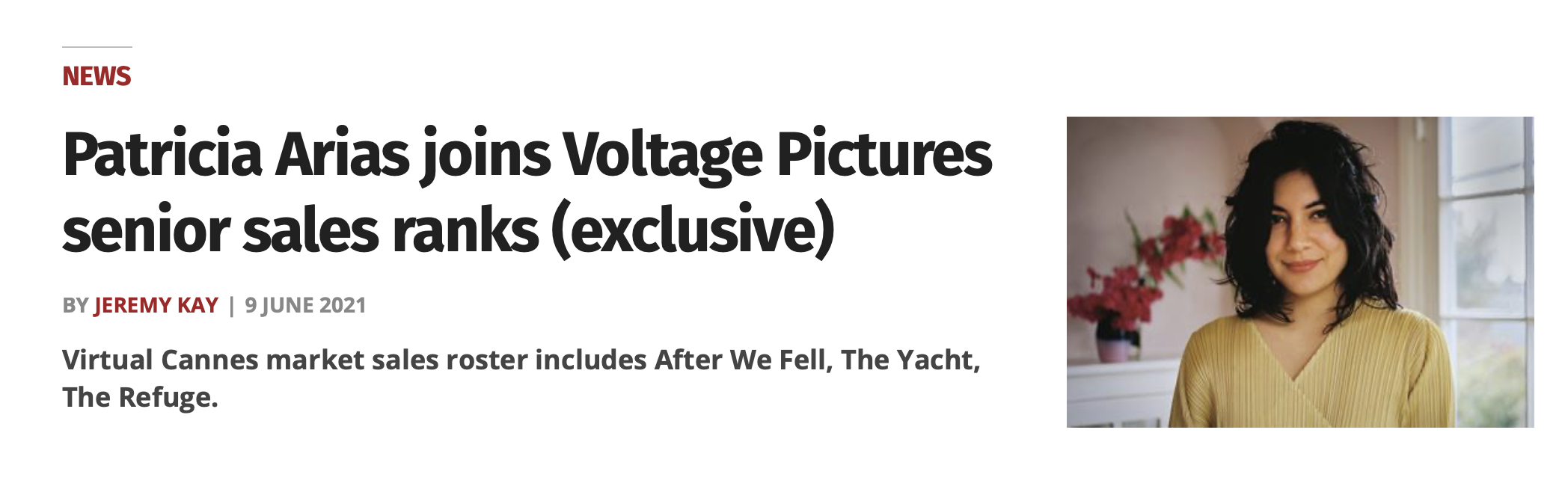 Patricia Arias joins Voltage Pictures senior sales ranks (exclusive)