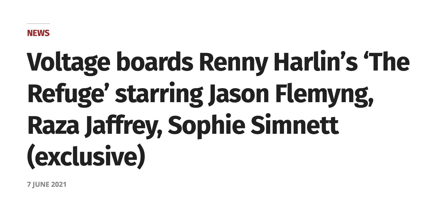 Voltage boards Renny Harlin's 'The Refuge' starring Jason Flemyng, Raza Jaffrey, Sophie Simnett