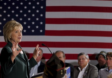 U.S. Democratic presidential candidate Hillary Clinton speaks during a veterans roundtable discussion at the VFW Hall in Derry