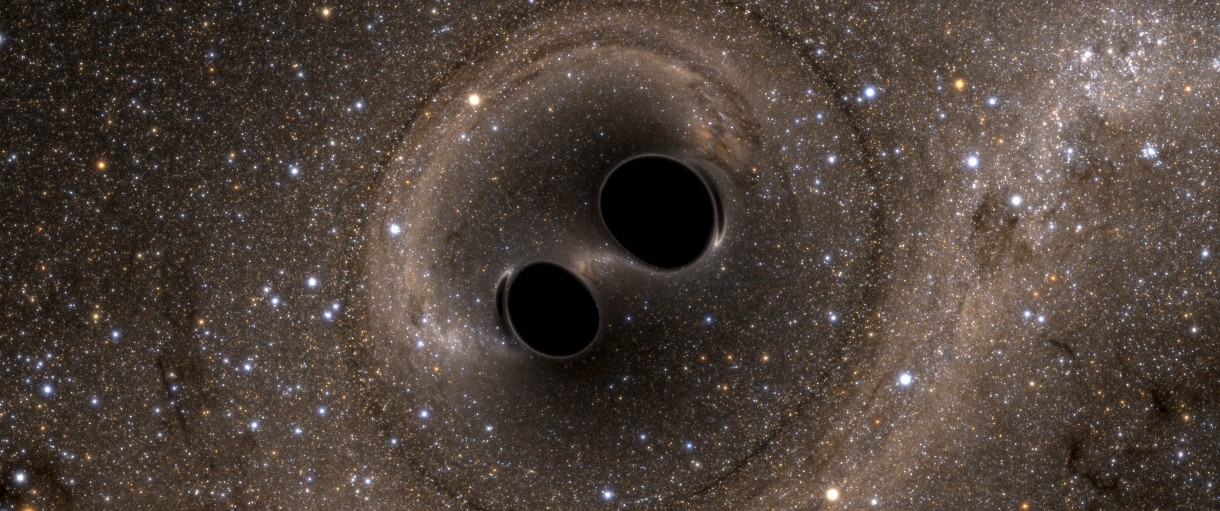 The collision of two black holes holes is seen in this still image from a computer simulation released in Washington, February 11, 2016. REUTERS/Caltech/MIT/LIGO Laboratory