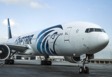 A picture taken on September 30, 2015 shows an Egypt Air plane on the tarmac of Cairo international Airport. AFP PHOTO / KHALED DESOUKI        (Photo credit should read KHALED DESOUKI/AFP/Getty Images)