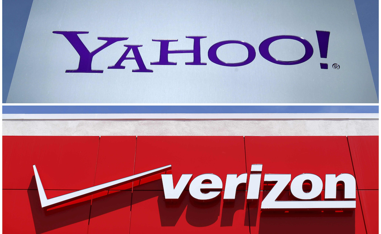 A combination photo shows Yahoo logo in Rolle, Switzerland (top) in 2012 and a Verizon sign at a retail store in San Diego, California, U.S. In 2016. REUTERS/File Photos