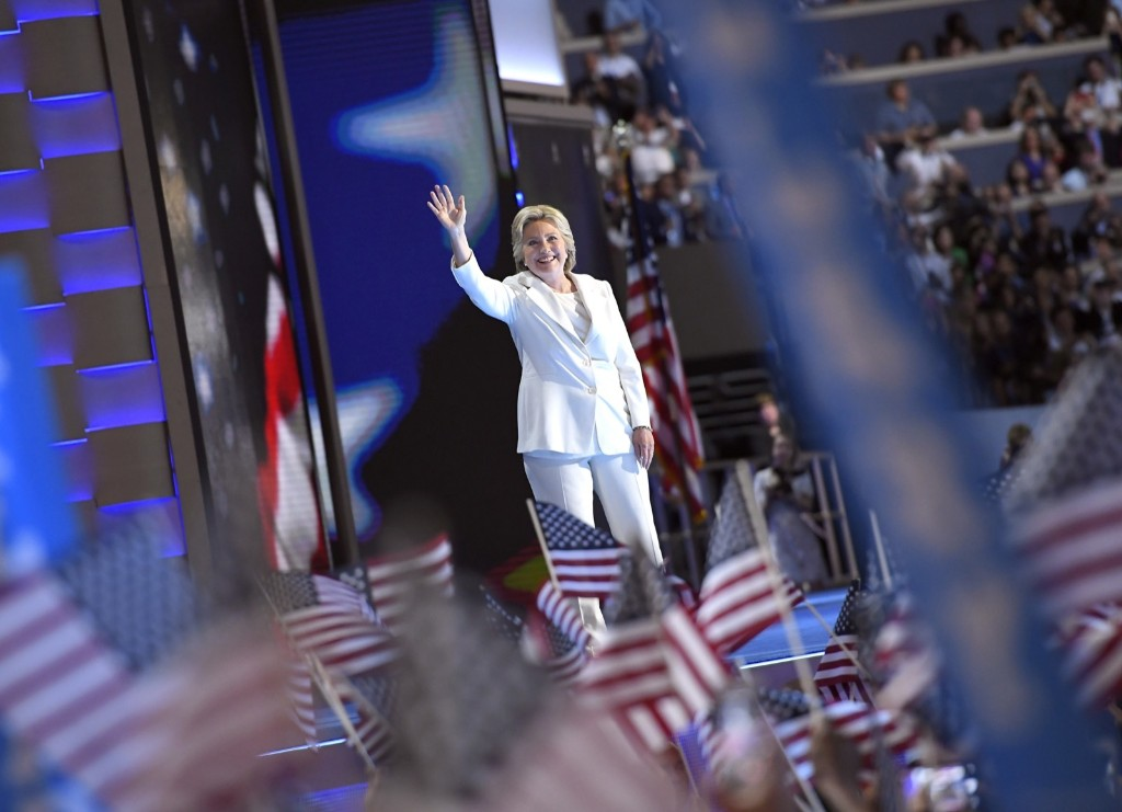 Hillary Clinton takes the stage during the final day of the Democratic National Convention in Philadelphia. AP Photo/Mark J. Terrill
