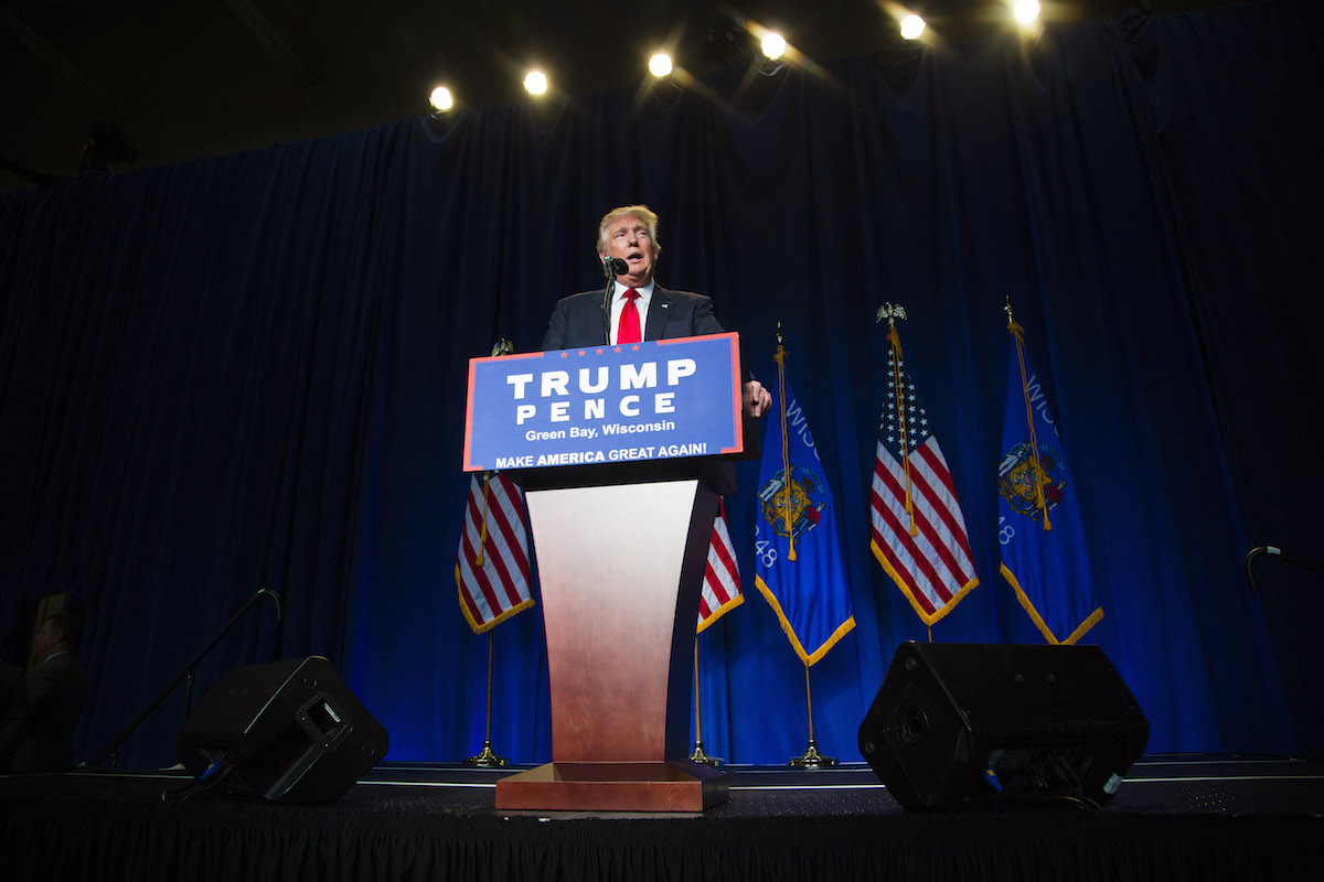 Donald Trump speaks at a rally on August 5, 2016 in Green Bay, Wisconsin. Darren Hauck/Getty Images