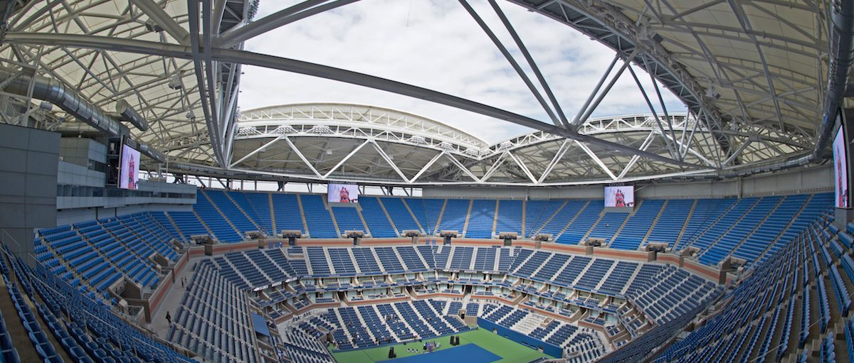 The retractable roof over Arthur Ashe Stadium in the open position at the USTA Billie Jean King National Tennis Center August 2, 2016 in New York. DON EMMERT/AFP/Getty Images