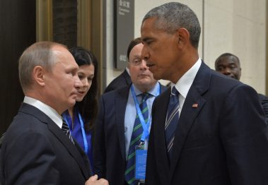 Russian President Vladimir Putin (L) meets with U.S. President Barack Obama on the sidelines of the G20 Summit in Hangzhou, China, September 5, 2016. Sputnik/Kremlin/Alexei Druzhinin/via REUTERS